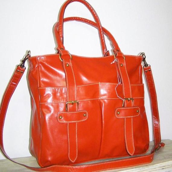 "Glossy Orange Leather Tote / Shoulder / Crossbody / Bag / Lea, fits a 13"" laptop/ Sale"