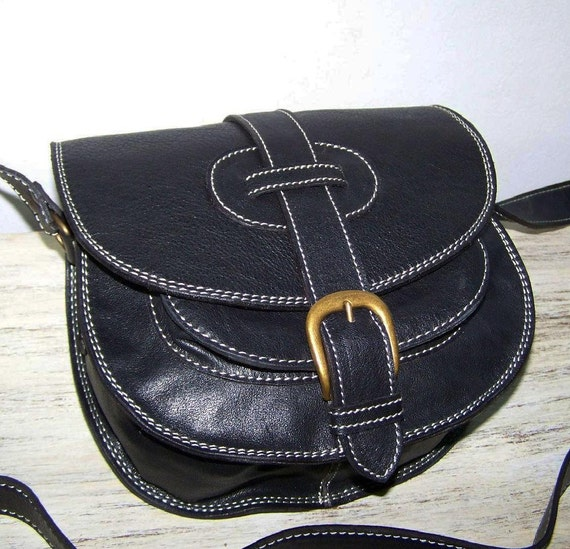 Black Leather Messenger Bag Purse Goldmann mini