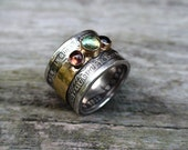 18K Gold and Silver Coin Quarter Dollar Ring with multicolor Tourmaline