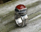 Silver Coin Ring Quarter Dollar with 11mm Square Faceted Red Orange Carnelian