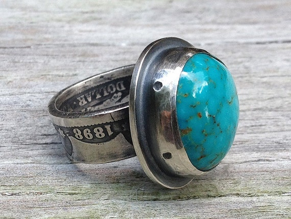 Silver Coin Ring with Arizona Red Veined Kingman Turquoise Cabochon Freeform
