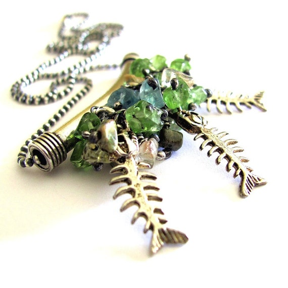 NEGLECTED AQUARIUM  unique jewelry tropical fish necklace weird strange jewelry unique necklace