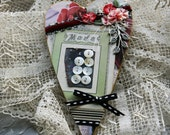 Ode to Mode- Handmade Gifts Hanging Heart Ornament Artworks, Assemblage, pretty pink floral  with vintage button card