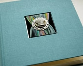 Sea Shore Theme Photo Album, Ocean Blue, w cream pages, abalone shell and silk ribbon assemblage.