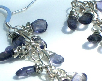 Bluest Iolite Shower Earrings with Sterling Silver, Gemstone Briolettes