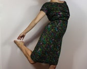 Vintage 1940's floral wool pencil dress - size extra small