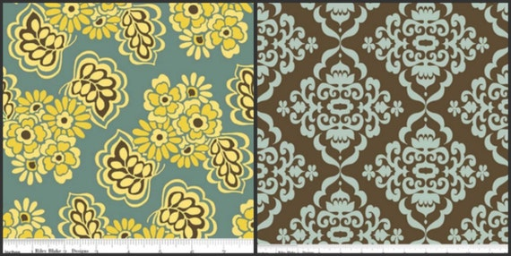 LAMINATED Cotton Fiona, 1/2 Yard Blue & Pale Yellow Floral, 1/2 Yard Brown and Blue Damask by Riley Blake - 42 Inches Wide, BPA and PVC Free