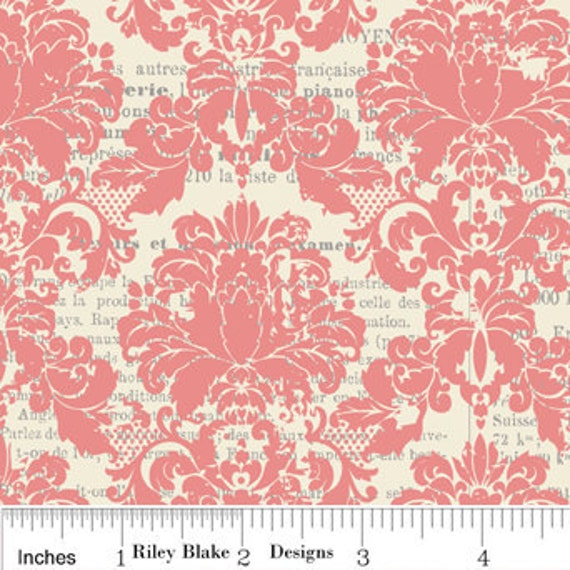 LAMINATED Cotton Pale Pink Damask by Riley Blake - 1 Yard, 42 Inches Wide, BPA and PVC Free