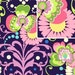 Midnight Paradise Garden by Amy Butler LAMINATED Cotton 1 yard. BPA and PVC Free