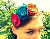 Handpicked, Bright Party Taffeta Hot Pink, Orange, Yellow, Teal, Red, Purple Round Petal Flowers and Black Tulle on Black Satin Headband
