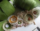 Garden Walk, Green Linen RIbbon Tie Belt, Ivory, Rustic Poppy Orange Flowers, Tea Dyed Vintage Embroidered Applique