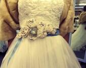 Rapture, Antique Cameo Bridal Belt, Something Blue, Ivory rolled roses on Blue Ribbon