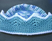 Prince Crown Royal Baby Hat  6-12 months TEAL BLUE and WHITE