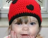 Crochet Love Bug Beanie Hat : 0-3, 3-6, 6-12 or toddler