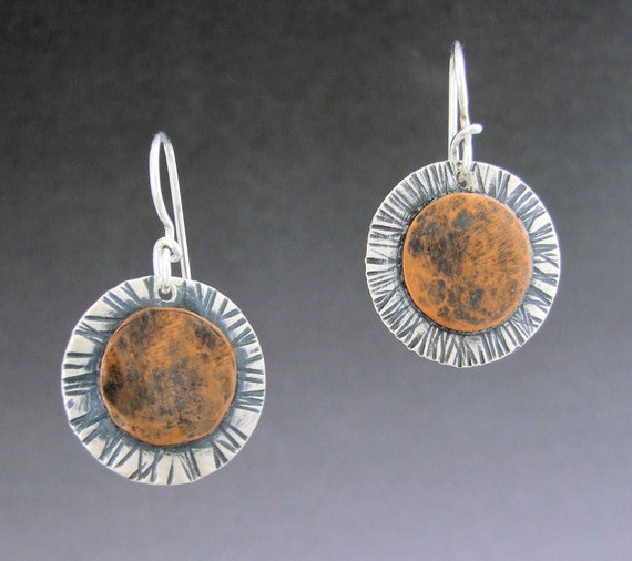 Sunflower earrings handcrafted of sterling and copper, mixed metals, Regina Marie Designs