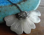 Poppy Flower Necklace sterling silver Pendant / statement necklace / special gift for her