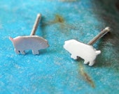 Tiny pig silhouette stud earrings in sterling silver - teen jewelry - girl studs - piggy post earrings
