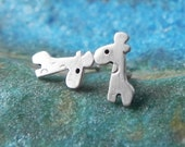 Really tiny giraffe studs in sterling silver