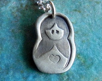 Babushka nesting doll Sterling silver necklace gift for mom adopted child from Russia
