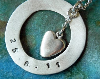 Gift for mom - Personalized circle and heart sterling silver hand stamped necklace with date, name or initials Valentine gift