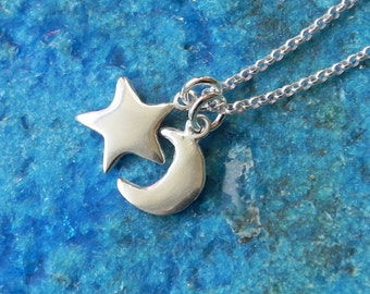 Star and crescent moon sterling silver necklace