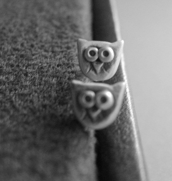 Really tiny owl studs in sterling silver - graduation gift -men studs