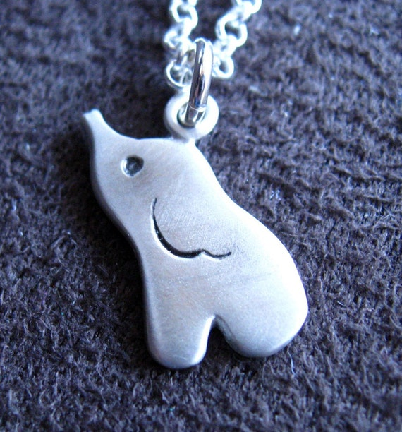 Little cute elephant necklace in sterling silver - elephant charm - lucky charm gift for her for mom for girl - under 25