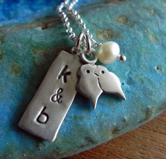 Lovebirds sterling silver personalized necklace pendant with tag and pearl - perfect for anniversary Valentine gift