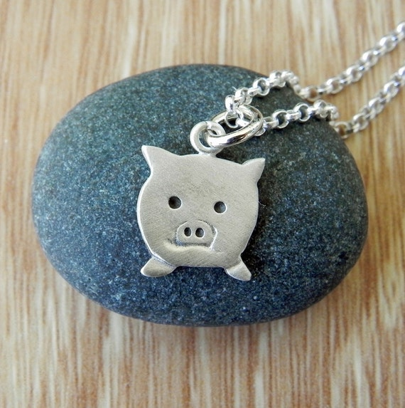 Cute little pig sterling silver necklace pendant with chain