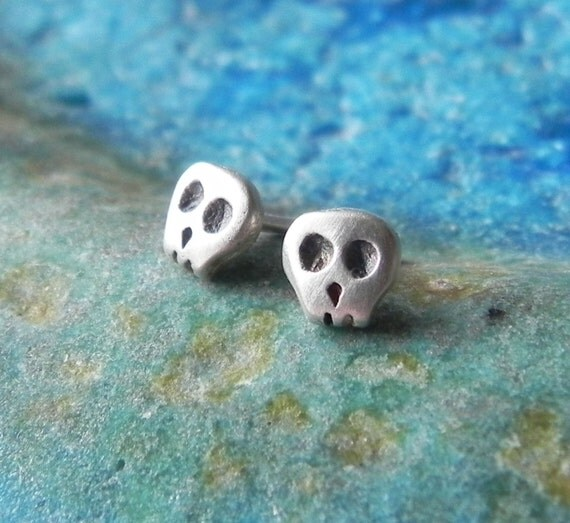Really tiny skull studs in sterling silver - Halloween studs