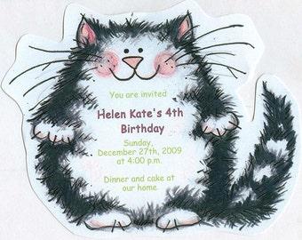 10 Cat - Happy Birthday - Party Invitations - Black and White - Kitty - Cards - Personalized - Handcut - Sara Jane Original