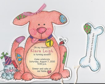 Personalized and Handcut Invitations - Birthday Party Invitations - Puppy Dog Birthday Party Invitations - Set of 11