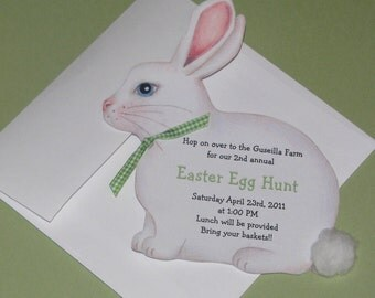 Personalized - Easter - Bunny - Birthday - Party - Invitations - Easter Rabbit -Egg Hunt - Handcut - Sara Jane - Printed - Set of 10