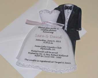 Personalized and Handcut Party Invitations - Couples Bridal Shower Party Invitations - Bridal Dress and Tux Invitations - Set of 10