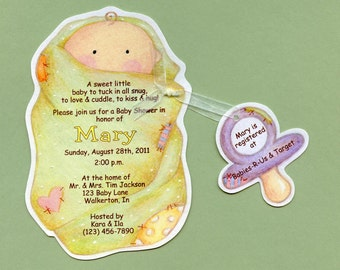 Personalized and Handcut Invitations - Baby Shower Party Invitations - Swaddled Baby Invitation - Set of 15