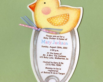 Personalized and Handcut Invitations - Baby Shower Party Invitations - Safety Pin Baby Invitation - Baby Duck Invitation - Set of 10