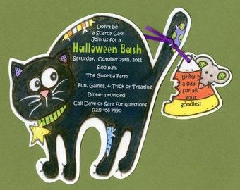 10 Personalized Black Cat Happy Halloween Party Invitations Handmade Artwork by SJ