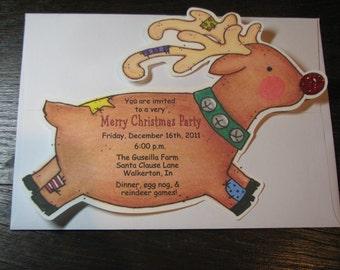 Christmas Invitations - Rudolf - Reindeer - Birthday Party - Christmas Birthday Party - Red Nosed - Set of 10 - Personalized Invites