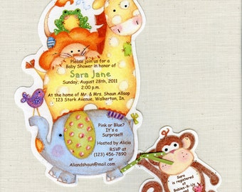 Personalized and Handcut Invitations - Baby Shower Party Invitations - Jungle Animals Safari Invitation - Set of 35 and 35 Thank you cards