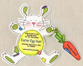 Personalized - Easter - Birthday - Bunny - Party - Invitations - Easter Egg - Handcut - Rabbit - Invite - Sara Jane - Printed - Set of 10