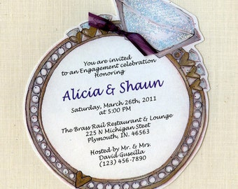 Personalized and Handcut Party Invitations - Engagement Party Invitations - Engagement Ring Invitations Cards - Set of 18