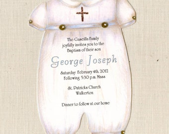 Personalized Baptism Invitations - Baptism Party - Invite - Handcut - Christening - Boy Christening - Boy Baptism Invitations - Printed - 32
