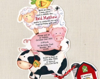 20 Farm Animal Birthday Party Invitations and 20 Thank you cards -  Handcut & Personalized