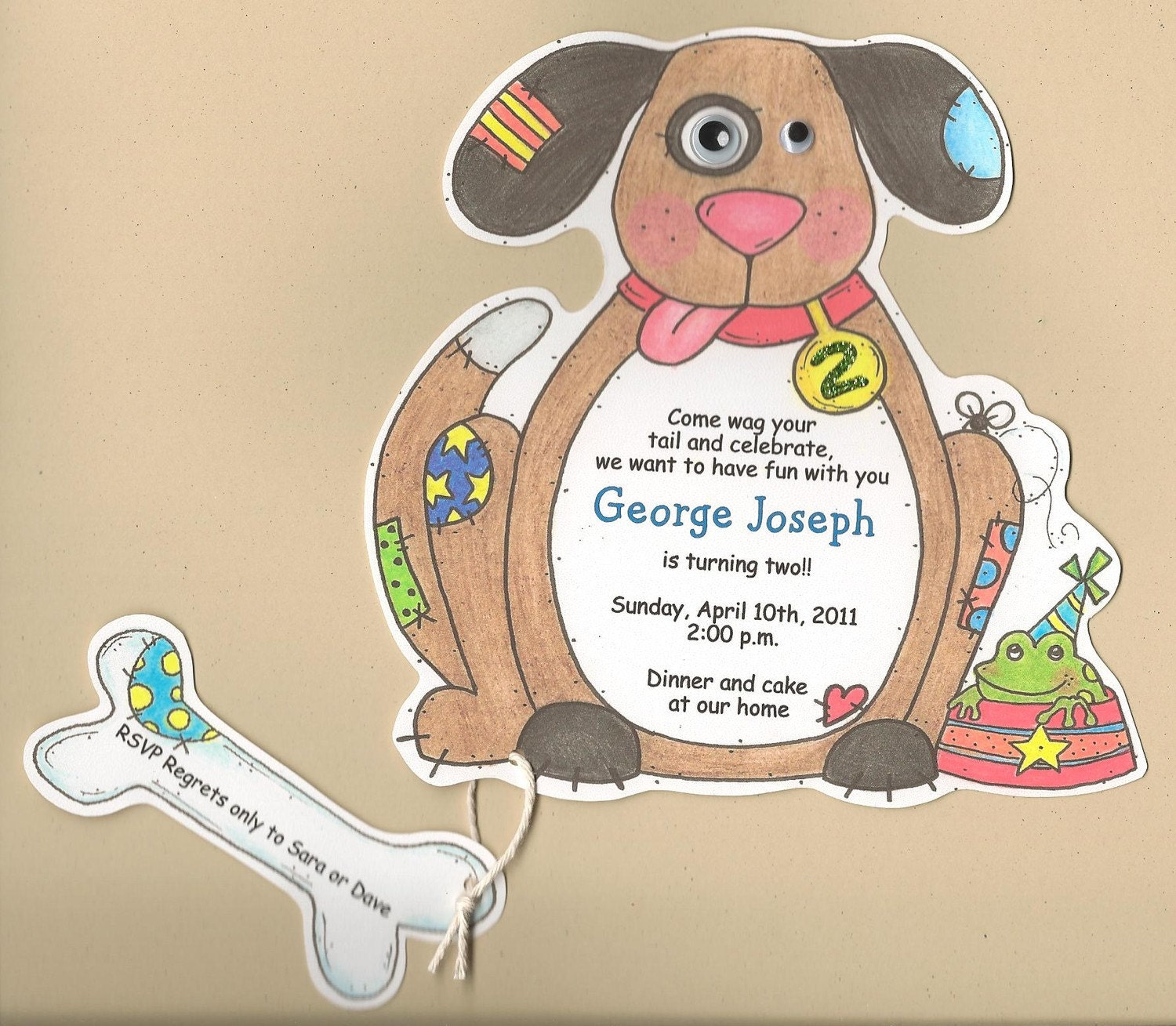 20 Boy Birthday Dog Themed Party Invitations Handcut and
