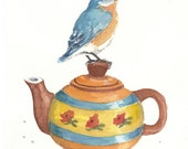 Teatime with Bluebird - ORIGINAL Watercolor Painting - 8x10