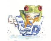 Frog In A Tea Cup - ORIGINAL Watercolor Painting -8x10