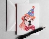 Birthday Card - Dog Watercolor, Greeting Card, Grumpy, Pug, Happy Birthday