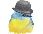 Bird Watercolor - Original Painting, Bowler Hat, Robin, Bird Art