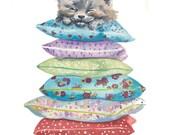 Original Cat Watercolor Painting - Pillows, Kitten Illustration, Animal Art, 8x10