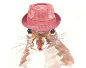Original Squirrel Watercolor - Fedora, Animal Illustration, 8x10
